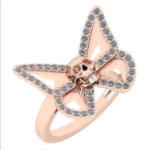 14k Rose Gold Skull Butterfly Ring